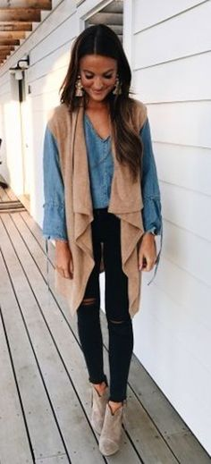 #fall #outfits  women's brown sleeveless cardigan