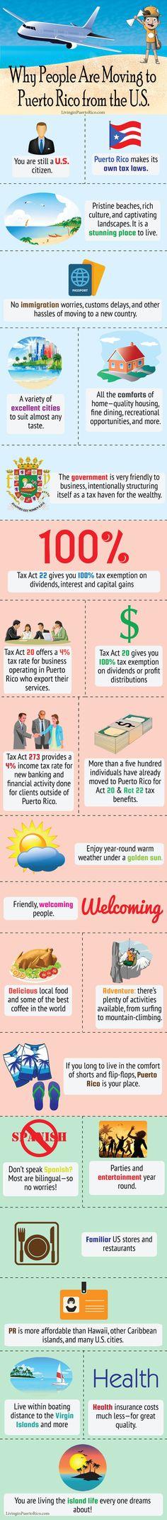 FUCKING COLONIA! Independencia ya, para que estos gingos no sigan vendiendo nuestra tierra y vengan a aprovecharse de las mierdas de leyes capitalistas de este gobierno antidemocrático!  Why People Are Moving to Puerto Rico from the US #infographic #puertorico