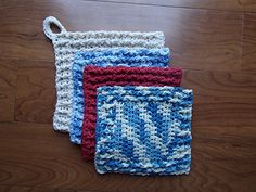 Household Heroes potholders ~ free crochet  pattern