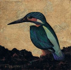 """Acrylics and Gilding: Kingfisher by Kevin McSherry, via Behance. 6"""" x 6"""" Acrylics on panel. Framed."""