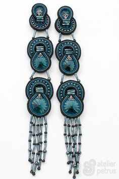 THE BIG BLUE - handmade soutache earrings with swarovski elements
