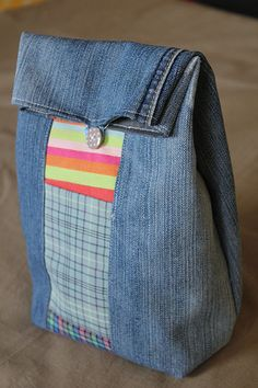 Recycled jeans lunch bag - @Evelyn Siqueira Siqueira Siqueira Siqueira Rose