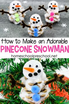 You wont believe how easy it is to turn an ordinary pinecone into an adorable preschool snowman craft! Read on to discover a fun new winter craft for kids. Winter Crafts For Kids, Easy Crafts For Kids, Winter Fun, Winter Theme, Art For Kids, Preschool Winter, Preschool Christmas, Kid Art, Winter Ideas
