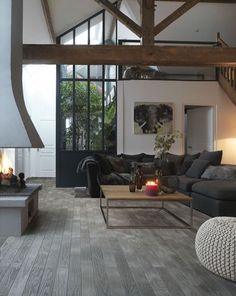 I Want This Sofa! Dark Grey, With Lighter Grey Faux Fur Cushions And Throw