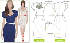 """Classic fitted cap sleeve dress with shaped neckline. StyleArc pattern """"Layla."""""""