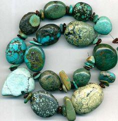 """Tibet Turquoise BEADS~Ovals  Zuni Bear Fetish Bead Blue/Green/Black 16-32mm 17"""" Tibet, Turquoise Beads, Turquoise Bracelet, Tucson Gem Show, Blue Green, Rocks, Gems, Ebay, Black"""