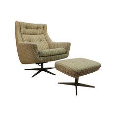 Image of Mid-Century John Stuart Upholstered Chair Ottoman