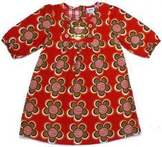 NOVA - Red Print Flowers Girls Corduroy Fashion Baby Doll Dress