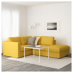IKEA - VIMLE Sectional, 3-seat corner with open end, Orrsta Yellow Corner Sofas, Yellow Couch, Ikea Yellow, Small Furniture, Home Furniture, Ikea Vimle Sofa, Design Ikea, Cosy Sofa, Home And Living
