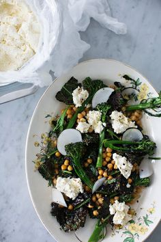 Roasted Broccoli, Kale and Chickpeas with Ricotta