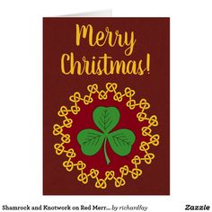 Shamrock and Knotwork on Red Merry Christmas Card.  70% Off with code ZBLACKFRIDAY Valid through November 24, 2017, 11:59 PM PT. #Zazzle #greeting_card #card #Christmas_card #shamrock #cloverleaf #knotwork #knotwork_circle #Merry_Christmas