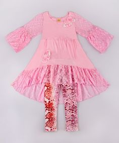 Another great find on #zulily! Pink & Red Lace Hi-Low Tunic & Leggings - Toddler & Girls #zulilyfinds