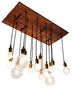 Talk about floor-to-ceiling style. This unique chandelier is made from reclaimed Merbau hardwood flooring and varying vintage-looking bulbs....