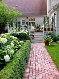 Love the hedge and hydrangeas lining this brick walkway.