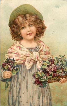 Ellen Jessie Andrews (1857-1907) — Flower Maidens 'Girl with Violets,1907  (1041x1641)