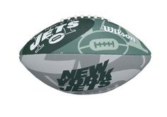 NFL New York Jets NFL Junior Team Logo Football-New York Jets by Wilson. $17.89. Superior gripability for increased passing distance. Perfect for a junior to learn to throw and catch. Wilson Exclusive panel design for better aerodynamics.. Butyl rubber bladder provides maximum air retention. Machine sewn rubber panels with all over team graphics. Wilson is the Official Ball of the NFL.  Learn to play like the pros on your favorite team with this Official Junior NFL Football.