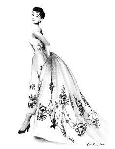Audrey Hepburn - Sabrina - Black and White Ink drawing