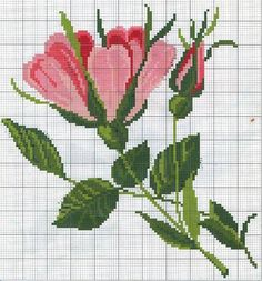 This Pin was discovered by Ren Cute Cross Stitch, Cross Stitch Rose, Cross Stitch Flowers, Cross Stitch Charts, Cross Stitch Patterns, Cross Stitching, Cross Stitch Embroidery, Embroidery Patterns, Hand Embroidery