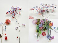 Anne Ten Donkelaar, flowers constructions, collages, floral compositions, flowers art, floral, peper flowers
