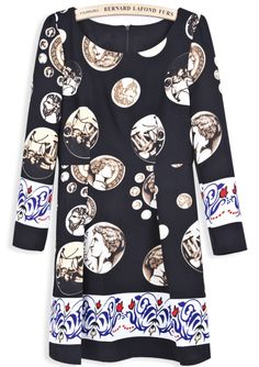 Black Long Sleeve Vintage Coins Print Dress EUR€22.67