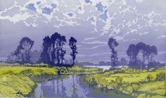 Oscar Droege (German, 1898-1982).  Seelandschaft (Nr. 117). Lake landscape. Color woodblock.