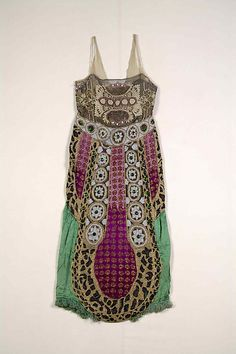 Evening dress Date: ca. 1920 Culture: probably French Medium: Silk, beads, metallic Credit Line: Brooklyn Museum Costume Collection at The M...