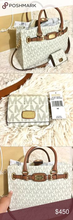 NWT ‼️MICHEAL KORS PURSE & WALLET SET ‼️ AUTHENTIC! Brand new Micheal Kors Hamilton LG tote 👜 Vanilla !! Jet Set  Travel Trifold Vanilla/acrn wallet! Both brand new with tags and covers! Selling only as a set! Wallet has tags $168 and tote $428! Offering great deal! NO TRADES! Reasonable offers considered! BUNDLE 3 ITEMS FOR DISCOUNT! HAPPY SHOPPING! Michael Kors Bags Totes