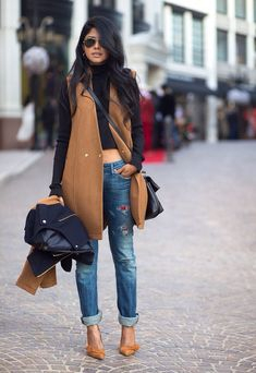 Camel and leather coat + distressed jeans