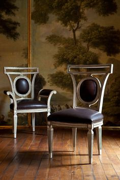Lucien Arm and Side Chairs with Classical Roman Vista I and II Paintings from Collection Ten by @ebanistacollect. Discover more at www.ebanista.com