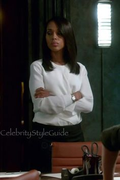 Olivia Pope Shows Off Her Signature Style In This White Layered Crepe Blouse