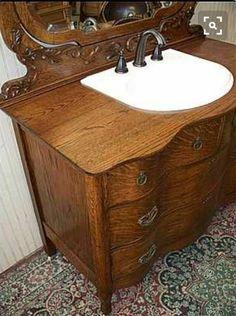 using a dresser as a bathroom vanity - Bing Images - Home Decorating DIY Cabin Bathrooms, Primitive Bathrooms, Vintage Bathrooms, Rustic Bathrooms, Bathroom Sink Vanity, Small Bathroom, Glass Bathroom, Bathroom Sets, Dresser Sink