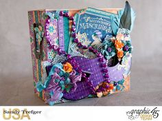 I designed this Mardi Gras album using Graphic 45 Midnight Masquerade collection and their tag album. This album was for display and introduction of new collection at January 2017 Creativation. Graphic 45, Graphic Design, Hand Stamped Cards, Shaker Cards, Hero Arts, Mardi Gras, Masquerade, Mini Albums, Vibrant Colors