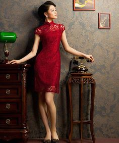Traditional Chinese Clothing - Elegant Lace Cheongsam Qipao Dress with Rose Pattern Red / Black