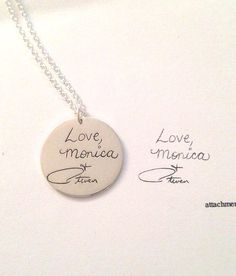 Personalized handwriting engraved necklace in sterling silver (up to 20 characters)