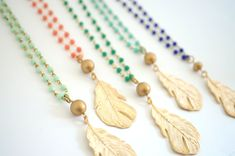 Long Gold Feather Necklace - Pick Your Color, Long Beaded Necklace, Layering Necklace, Beaded Rosary Chain Necklace, Boho Necklace by 3MariesDesigns on Etsy https://www.etsy.com/listing/204065881/long-gold-feather-necklace-pick-your
