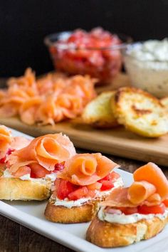 These smoked salmon crostini are by far one of the best crostini recipes with creamy filling and fresh tomato relish. Quick and impressive appetizer!