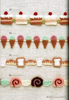 FREE Crocheted Cake, Sweets and Ice Cream Garland or Edging Crochet Pattern…