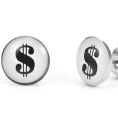 """R&B Joyas - Pendientes de hombre, pendientes de botón estilo rap, símbolo dólares """"show me the money"""", acero inoxidable, color negro / plateado: Amazon.es: Joyería"""