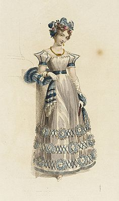 Ackermann  Repository, Evening Dress, March 1827. Sleeves. SLEEVES!