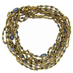 Victorian Sapphire Diamond and Yellow Gold Chain Necklace at 1stdibs