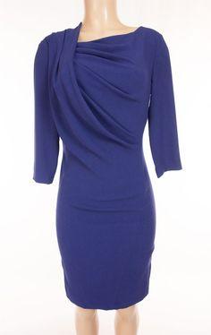 ESCADA Dress 36 S Small Midnight Blue Evening Cocktail Draped Front #ESCADA #Sheath #Cocktail