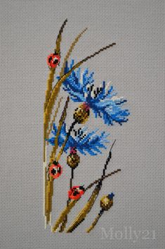 ( I like the vivid colours, punches the picture up. Small Cross Stitch, Cute Cross Stitch, Cross Stitch Rose, Cross Stitch Flowers, Modern Cross Stitch, Cross Stitch Patterns Free Easy, Cross Stitch Designs, Cross Stitching, Cross Stitch Embroidery