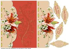 Lily Faux Envelope Sheet on Craftsuprint designed by Diane Hannah - Lily Faux Envelope Sheet, includes decoupage elements and sentiment tags. This card is suitable for many occasions. - Now available for download!