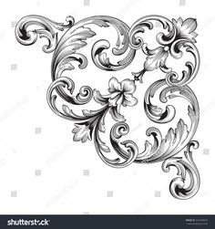 vintage baroque corner ornament retro pattern antique style acanthus. Decorative design element filigree calligraphy vector. You can use for wedding decoration of greeting card and laser cutting.