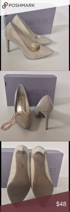 Jennifer Lopez Metallic Heels New In Box Gorgeous! Pale gold metallic. Lightly padded footbed. Flexible sole 4-inch heel Bundle discount  Smoke free home I don't trade  Please ask all questions before purchase. Thank you for shopping with me Jennifer Lopez Shoes Heels