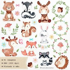 Woodland animals clipart watercolor animals clipart nursery decoration party supplies little baby bear fox owl deerraccoon- Watercolor Images, Watercolor Animals, Forest Animals, Woodland Animals, Woodland Nursery, Woodland Baby, Little Pigs, Little Babies, Animal Drawings