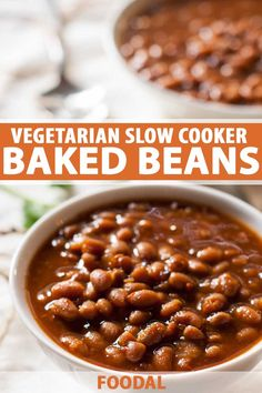 Vegetarian Slow Cooker Baked Beans This vegetarian baked beans recipe is perfect for a summer BBQ or fall and winter game day parties and tailgating! Super easy to make, healthy, and delicious, this recipe can't be beat. Healthy Baked Beans, Baked Beans Crock Pot, Slow Cooker Baked Beans, Bbq Baked Beans, Bbq Beans, Slow Cooker Recipes, Crockpot Meals, Vegetarian Bean Recipes, Vegetarian Baked Beans
