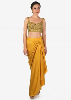 Mustard Skirt In Cowl Drape Matched With Embroidered Blouse And Fancy Jacket Online - Kalki Fashion Dress Indian Style, Indian Dresses, High Fashion Dresses, Fashion Outfits, Drape Skirt Pattern, Mustard Skirt, Mehendi Outfits, Lehnga Dress, Stylish Dress Designs