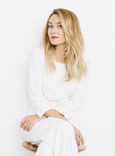 Lauren Conrad in all white + red lip