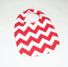 Red & White Chevron Baby Bib | Pasque Flower Creations | locabal.com #baby #bib #chevron